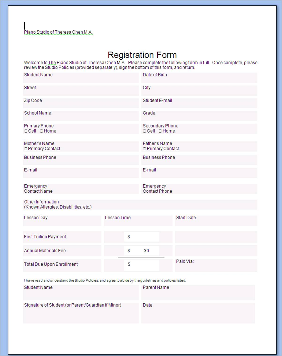 patient registration form template